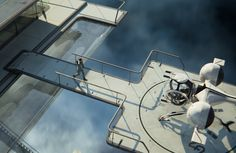 From Oblivion. Jack Harper character headed to the bubble ship. Notice the pool with the glass bottom.
