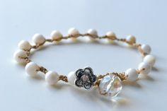 "Bohemian crochet bracelet, ""creamy beach shells"", surfer girl bracelet"