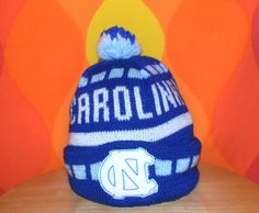 f10a60c7a77 vintage 80s pom pom ski hat UNC university north carolina tar heels beanie  winter.  14.00