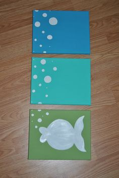 Boys' bathroom?? Fish Silhouette Set of 3 canvases 8x10 by AnnaCarolinesCrafts, $30.00