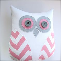 owl pillow, pink and white chevron owl, decorative pillow, pink pillow, pink and grey nursery decor, graduation gift