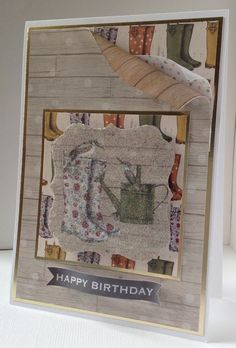 The Potting Shed collection, card designed by Emma Smith. Gorgeous autumnal feel to collection featuring gardening tools, sheds, hedgehogs, flower pots, Wellington Boots, and all,things to do with the garden. Preference for both male and female cards.