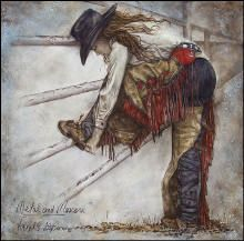 cowgirl art, cowgirl painting, giclee print of a rodeo cowgirl $75  by Virgil C. Stephens western artist