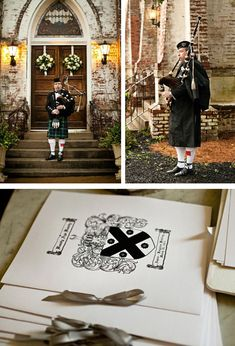 Scottish wedding, scottish wedding invites, kilt, bagpipes via Darling Belle Events +  Design http://darlingbelleevents.blogspot.co.uk/2012/03/featured-wedding-anna-josh-country.html