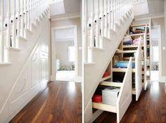 Sliding under-stair storage-genius! daphsmum Sliding under-stair storage-genius! Sliding under-stair storage-genius! Staircase Storage, Stair Storage, Hidden Storage, Extra Storage, Stair Drawers, Secret Storage, Storage Drawers, Stair Shelves, Storage Shelves