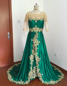 Prom Dresses Long With Sleeves, Cheap Prom Dresses, Formal Dresses, Green Lace, Lace Applique, Satin, Gowns, Elegant, Vintage