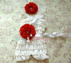 Victorian White Red Flower Lace Romper set