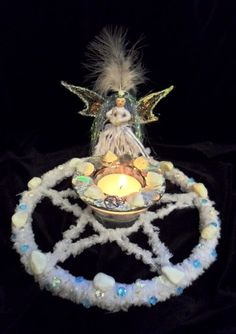 Winter Snow Faerie / Fairy Pentacle. Winter Solstice Altar Piece. Hand crafted by Rowan Duxbury