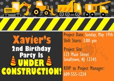 Construction birthday invite with free matching thank you card   CUSTOMIZED Construction Birthday Invitation by LuckyCharmOnline