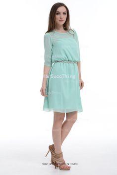Mint Green Bridesmaid Dress Short Chiffon by harsuccthing on Etsy