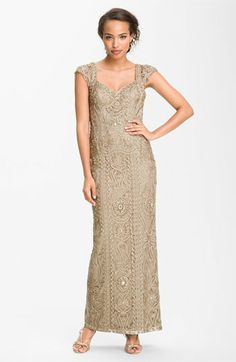 White and Gold Wedding. Gold Bridesmaid Dress. Soft and Romantic. Sue Wong Open Back Embroidered Gown available at Nordstrom
