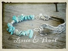 Beautiful vintage spoon bracelet accented with turquoise chips and silver beads.  Perfectly antiqued bracelet for that Country Girl appeal!
