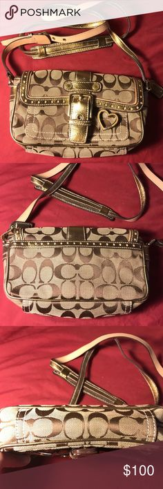 Brown and gold Coach purse Don't remember using it, but it has been stored for years. No tags. Good condition.  Long shoulder strap. Mixture of canvas and leather.  Very pretty Coach Bags Crossbody Bags