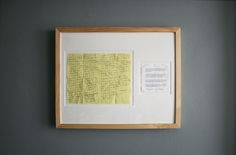 Wedding vows matted and framed.  This would also be a great way to frame a family recipe, special documents, etc. : )