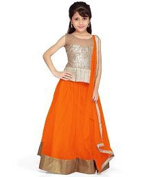 Buy Asr Creation Girls Lehenga Choli Ethnic Wear Solid Lehenga, Choli and Dupatta Set online in India at best price.Brand : Asr Creation Style Code : orange kids Size : 10 - 11 Years Brand Color : orange and golden Ideal Lehenga Choli Designs, Kids Lehenga Choli, Net Lehenga, Gold Lehenga, Kids Saree, Lehenga Skirt, Anarkali, Frock Design, Saris
