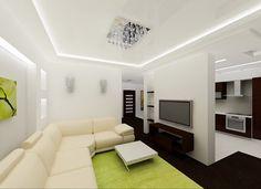Пример натяжных тканевых потолков для зала на фото