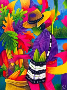 This is a beautiful piece of art that came from Guatemala. Guatemalan Art, Mexican Paintings, Peruvian Art, Latino Art, South American Art, Caribbean Art, Tropical Art, Naive Art, Mexican Folk Art