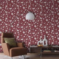 Galia 46-4 Papel de Parede Vinílico Lavável Arabesco, Floral Branco, Vermelho Escuro