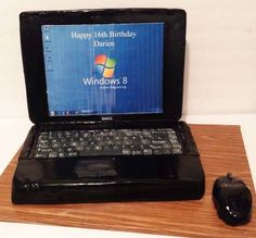 """""""Dell"""" Laptop and Mouse Birthday Cake"""