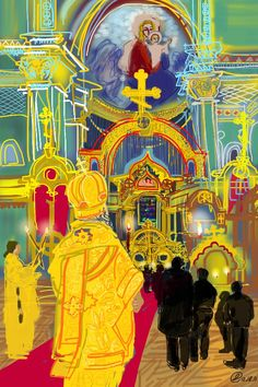 Mass at the Russian Orthodox Church in NYC. Drawn on the iPhone. Reportage.