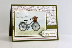 "This challenge at Moxie Fab has been on my ""To Do"" list ever since I saw it posted. I love this Hero Arts bicycle stamp, but haven't put it to much use. I finally got to it today, just in. Scrapbooking, Scrapbook Cards, Card Making Inspiration, Making Ideas, Bicycle Cards, Birthday Cards For Women, Retirement Cards, Fathers Day Cards, Cards For Friends"