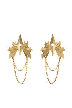 FLARE CHAIN EARRING - GOLD