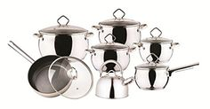 Elegante WUR-1006 13 Pieces Stainless Steel Cookware Set -- Trust me, this is great! Click the image. : Cookware Sets