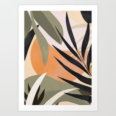 Simple Canvas Paintings, Diy Canvas Art, Tropical Art, Tropical Leaves, Pintura Hippie, Office Deco, Painted Leaves, Art Plastique, Printable Wall Art