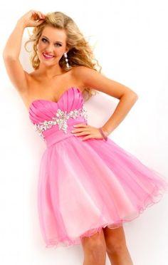 Trendy Ball Gown Short Sweetheart Pink Organza Dress