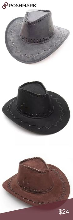 """Boho Chic Western Cowboy HAT Beach Black Grey Tan BRAND NEW!! Boho-Chic Cowboy Hat with Western-style Details: 100% crushable & packable, perfect to pack - beach, pool, festival - for all your travels.   - 4"""" brim width. - Imported.  - Available Colors: Steel Grey, Black, Brown, & Tan  🌟 Item is BRAND NEW, direct from the Manufacturer, & sealed in package. 🌟 Accessories Hats"""