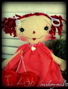 Primitive Raggedy Ann doll  Valentine Heart by CranberryCreek71, $26.00