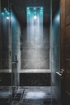 Yes or No to a rain shower in your bathroom? Stunning rain shower with lighting effect! By AV Architects Modern Contemporary Bathrooms, Modern Bathroom Design, Bathroom Interior Design, Contemporary Style, Contemporary Curtains, Contemporary Stairs, Contemporary Cottage, Contemporary Apartment, Contemporary Chandelier