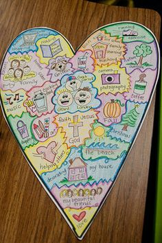 teacher example heart map (first grade parade) Writing Topics, Teaching Writing, Writing Activities, Narrative Writing, Writing Assessment, Writing Prompts, Therapy Activities, Expository Writing, Teaching Poetry