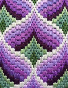 Bargello Needlepoint in Canvas Framed Pomegranates Florentine Long stitch Original handmade Purple Green & Needlecord Border Textile Art Motifs Bargello, Broderie Bargello, Bargello Patterns, Bargello Needlepoint, Bargello Quilts, Needlepoint Stitches, Needlepoint Canvases, Hardanger Embroidery, Embroidery Patterns