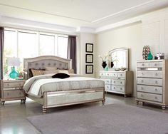 silver bedroom furniture sets. Create a beautiful focal point for your master bedroom with the Bling Game  Panel Bedroom Set by Coaster Furniture The Collection features glamorous Coralayne Silver Pinteres