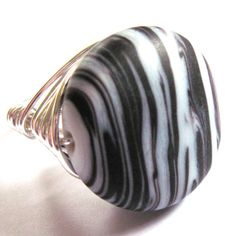 Wire Wrap Ring Glass Black White Stripes Unisex by gimmethatthing, £9.75