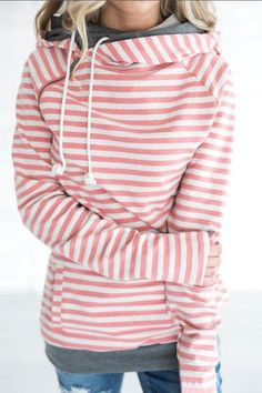 stripe plus size hooded sweater