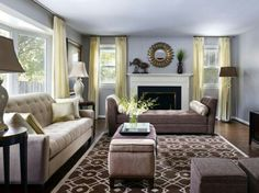 love the chaise in front of fireplace
