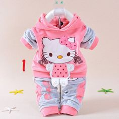 Hello Kitty Hooded Sweatsuits Baby Girls Sets 2 pc 3 Colors