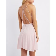 Charlotte Russe Bib Neck Skater Dress ($29) ❤ liked on Polyvore featuring dresses, mauve, skater dress, circle skirt, pleated dress, charlotte russe dresses and flared skirt