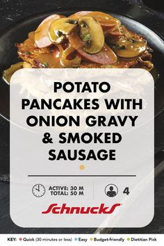 Stacked with savory flavors, these potato pancakes make the most of your leftover mashed potatoes. Leftover Mashed Potatoes, Onion Gravy, Potato Pancakes, New Recipes, Cooking Tips, Sausage, Yummy Food, Dishes, Breakfast
