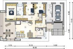 Parterowy dom ze strychem do adaptacji, z garażem - Studio Atrium Atrium, Kos, Plan Chalet, Studio, House Plans, Floor Plans, House Design, Flooring, How To Plan