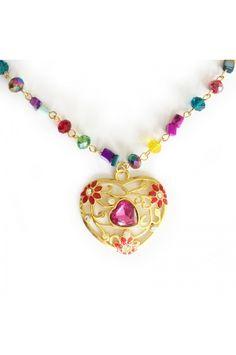 Collar Corazón multicolor joyas y accesorios top 10 colombia, tendencias , moda fashion necklace bogota dorado corazón heart