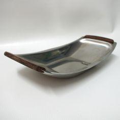 DANISH 18/8 stainless steel/teak serving tray/bowl, Denmark hors-d œuvres 70s. £7 ebay 141741902769
