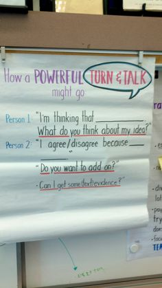 Turn and talk - Powerful Turn and Talks Chart SMASH School in Santa Monica Teaching Strategies, Teaching Tips, Teaching Reading, Instructional Strategies, 4th Grade Classroom, Classroom Posters, Classroom Ideas, Future Classroom, 3rd Grade Reading