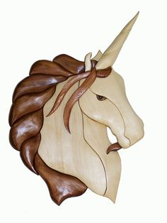 """Intarsia   FA104- Female Unicorn (right ) - 11 3/4"""" x 12 1/4"""" 28 pieces - $6.50"""