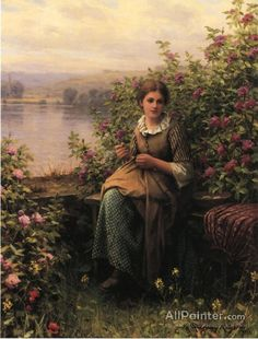Daniel Ridgway Knight,Mending oil painting reproductions for sale