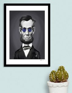Discover «Abraham Lincoln Steampunk», Numbered Edition Fine Art Print by Rob…