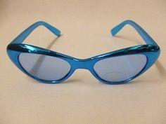 Ojo De Gatos Gafas ~ Azul Metalizado ~ Uv400 ~ 1980's ~ 1970's ~ 1950 ~ Disco