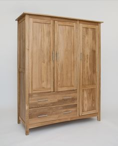 hereford oak three door gents wardrobe is constructed using 100 solid american white oak and aston solid oak wall mirror